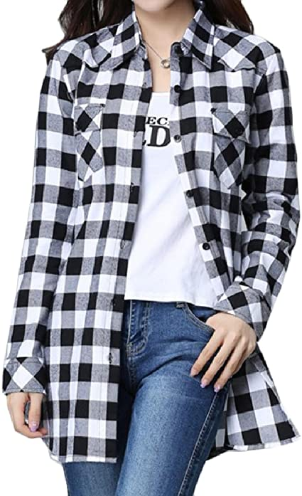 Sankt - Camisa de Manga Larga para Mujer, diseño de Cuadros Sueltos, Color Negro y Blanco, Talla 6XL: Amazon.es: Ropa y accesorios