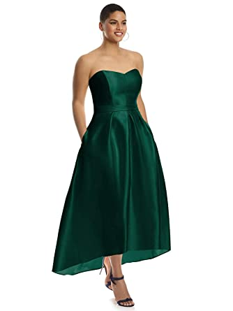 87a528a2f78a Amazon.com: Alfred Sung Style D699S High-Low Sateen Pleated Skirt Formal  Dress - Strapless Sweetheart Neckline: Clothing