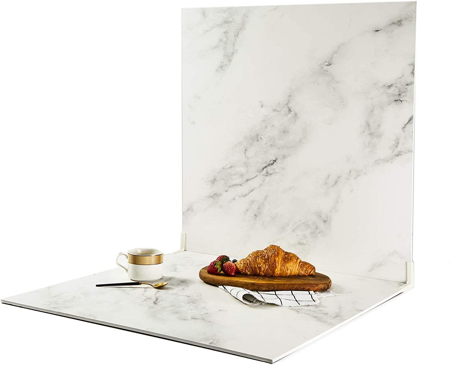 """BEIYANG 2 Marble 24x24""""Photo Backdrop Boards with 2 PCS Bracket for Flat Lay or Food Photography Background White Marble&White Marble"""