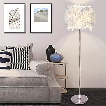 ELINKUME Stehleuchte, Weiße Feder Lampenschirm LED Stand Licht Für  Schlafzimmer/Wohnzimmer, Einfacher Moderner