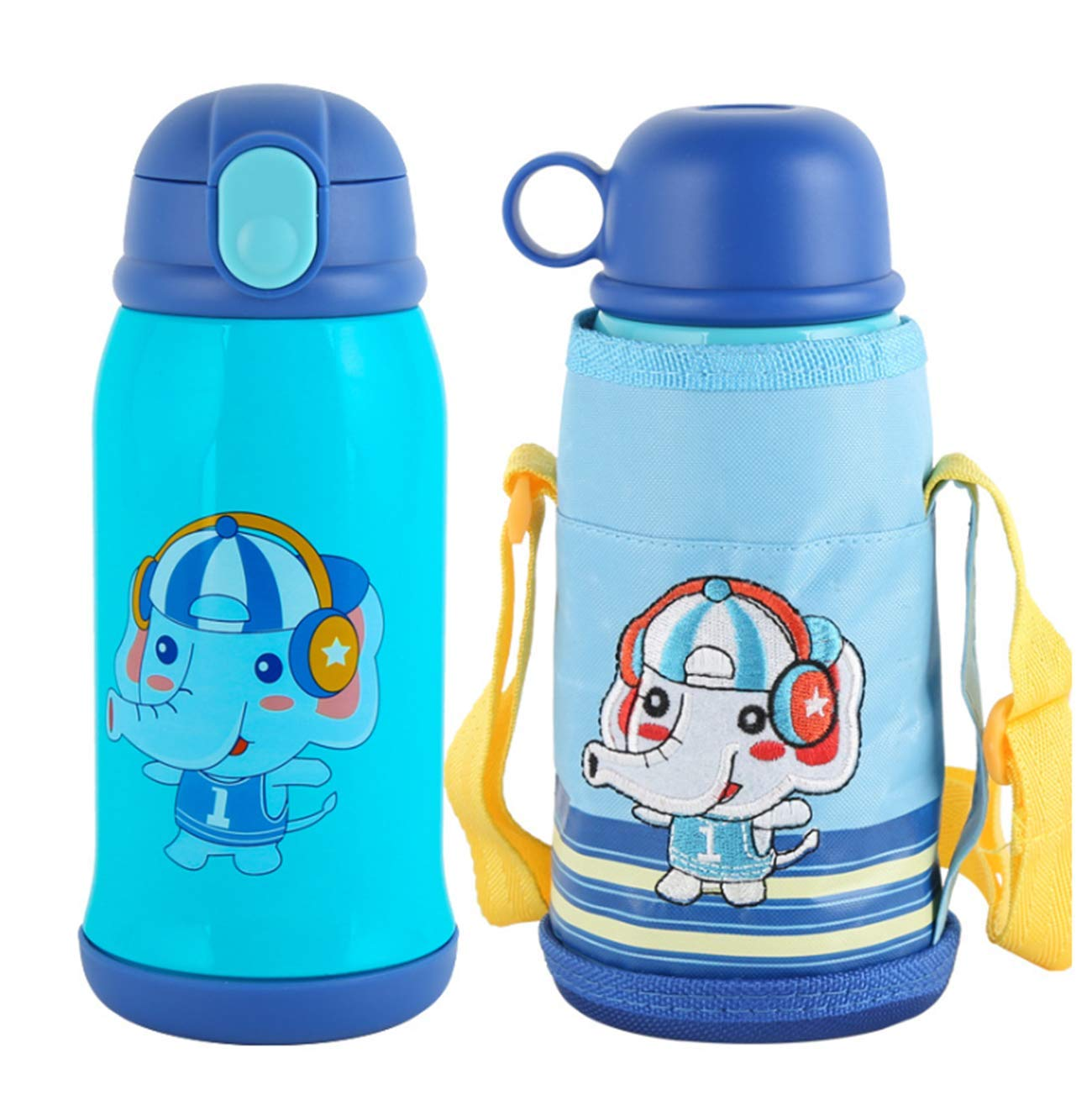 XIUHAO Children's Thermos, Vacuum Stainless Steel Water Bottle with Soft Silicone Straw Cup Bag Long-Lasting Insulation for Children by XIUHAO