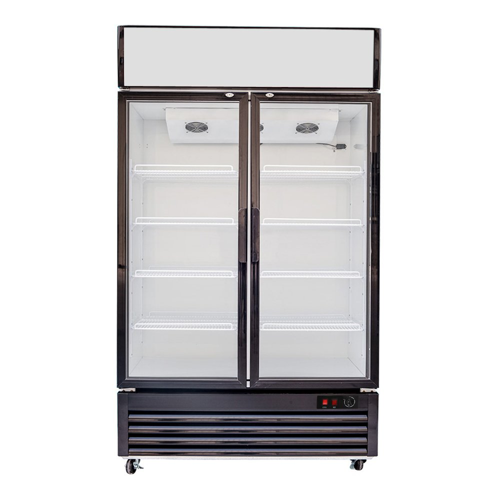 618L Glass Display Side by Side Pull Door Air Cooling Beer Soda Beverages Showcase Commercial Refrigerator Merchandise Upright Ventilated Cooler 21.8 cf. Cabinet
