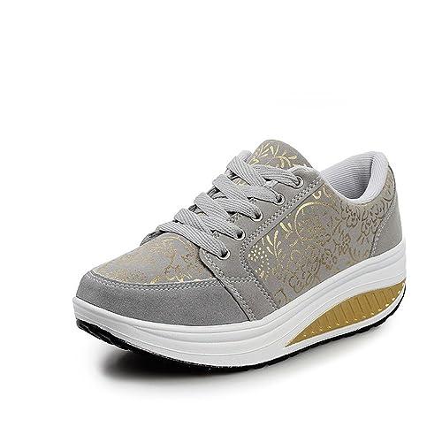 Eagsouni® Invierno Mujer Cálido Cuero Calientes Fur Zapatillas Anti Deslizante Cuña Fitness Zapatos: Amazon.es: Zapatos y complementos