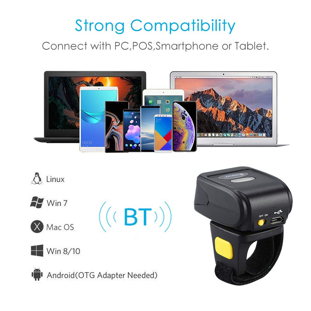 Portable Ring 1D 2D QR Barcode Scanner,Wearable Wireless Finger Mini Bar  Code Reader Compatible for Windows, Mac OS, Android 4 0+, iOS Support Scan  QR