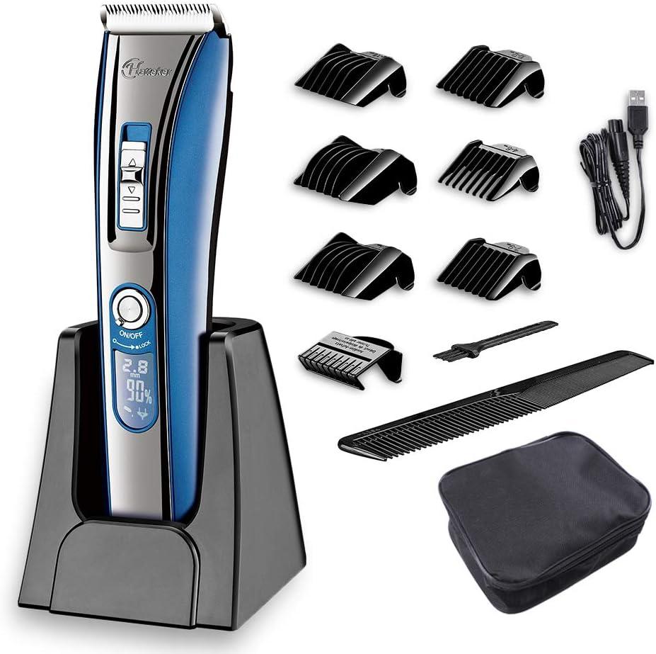 HATTEKER - Cortapelos profesional para caballero, cortapelos eléctrico, recortador de barba, recortador de precisión, para hombre, para funcionamiento con batería y enchufe, recargable, USB