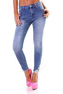 11084 Damen Jeans Röhre Skinny 7//8-Jeans Destroyed Stretch Denim Übergrößen