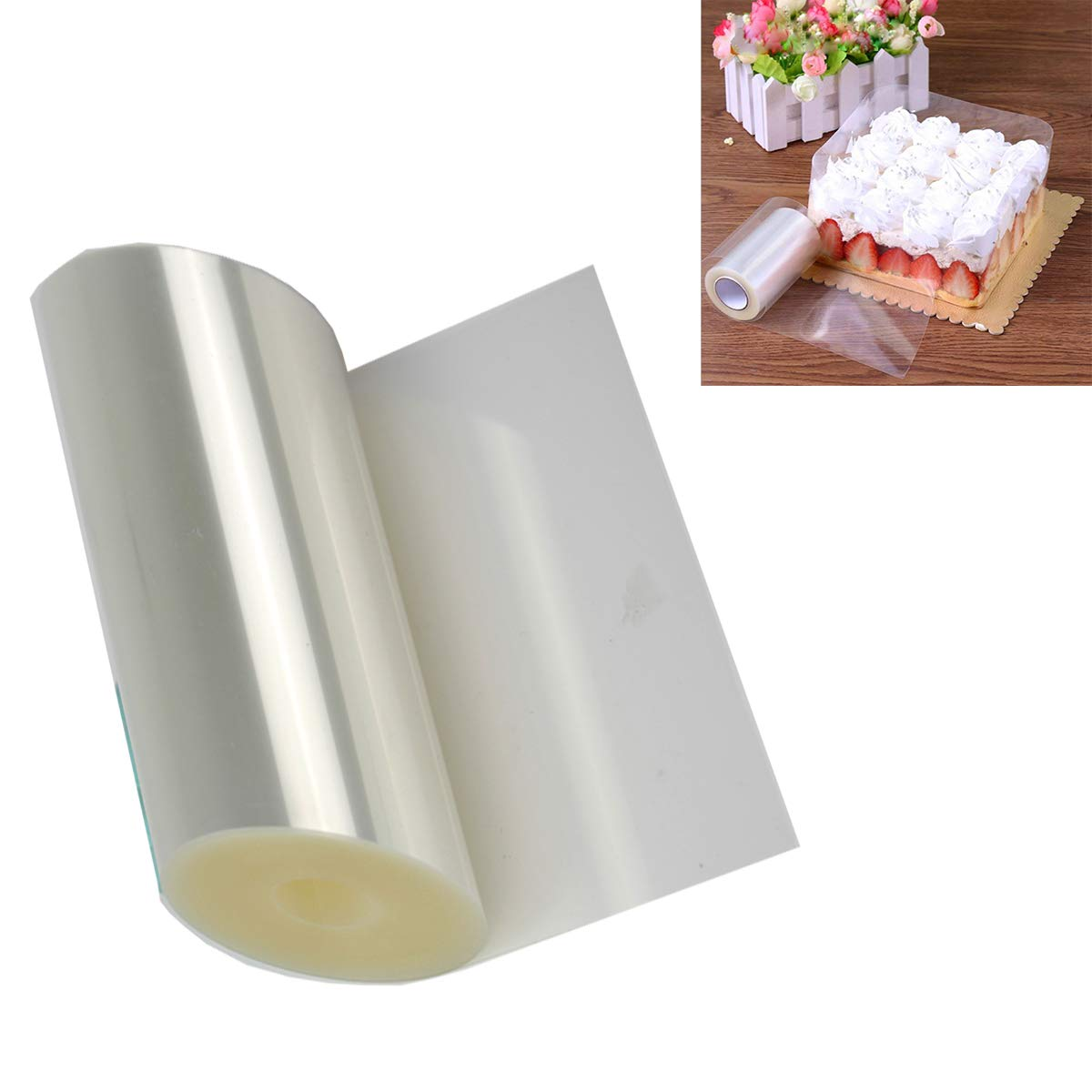 Cake Collars 3.9 x 394inch, Starled Acetate Rolls, Clear Cake Strips, Transparent Cake Rolls, Mousse Cake Acetate Sheets for Chocolate Mousse Baking, Cake Decorating (1 Roll)