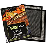PhatMat BBQ Grill Mat Set of 2 - Heavy Duty Non Stick Grilling & BBQ Mesh-Best Accessories for Outdoor Traeger, Green Egg, Smoker-Food Doesn't Fall Through Grates - Easy to Clean - Grill Like a Boss
