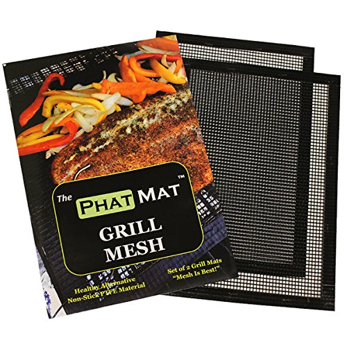 PhatMat Grill Mat (2 Pack) - Non Stick Grilling and BBQ Mesh - Best Accessories for Traeger, RecTec, Green Egg - Food Doesn't Fall Through Grates