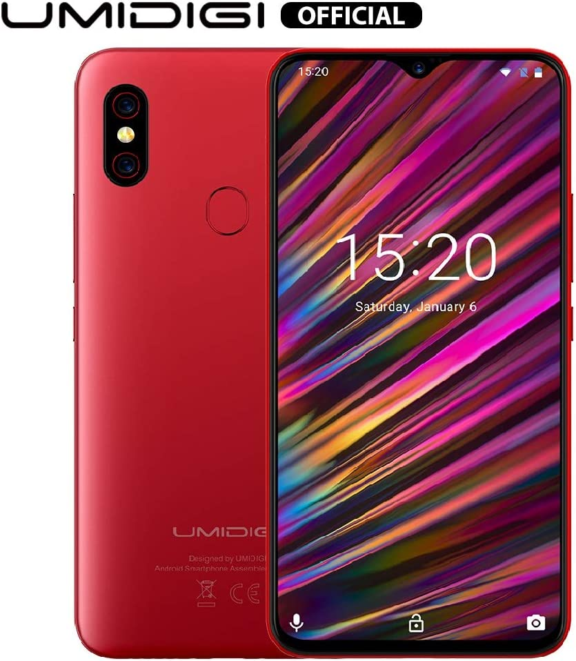 UMIDIGI F1 Factory Unlocked Phone Android 9.0 6.3″ FHD+ 128GB ROM 4GB RAM Helio P60 5150mAh Big Battery 18W Fast Charge Smartphone NFC 16MP+8MP Phone(Red)