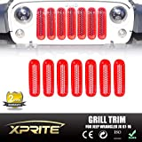 Xprite Red Front Grill Mesh Grille Insert Kit 2007 - 2017 Jeep Wrangler JK & JK Unlimited (7-Piece Set)