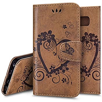 Galaxy S8 Case,Galaxy S8 Wallet Case,PHEZEN Vintage Emboss Flower Love Heart PU Leather Wallet Flip Protective Case Cover with Card Slots & Kickstand for Samsung Galaxy S8, Brown