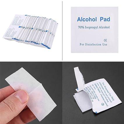 100pcs almohadillas de alcohol de materiales esterilizados sin tejidos 70% Alcohol isopropílico Toallitas húmedas Herramienta