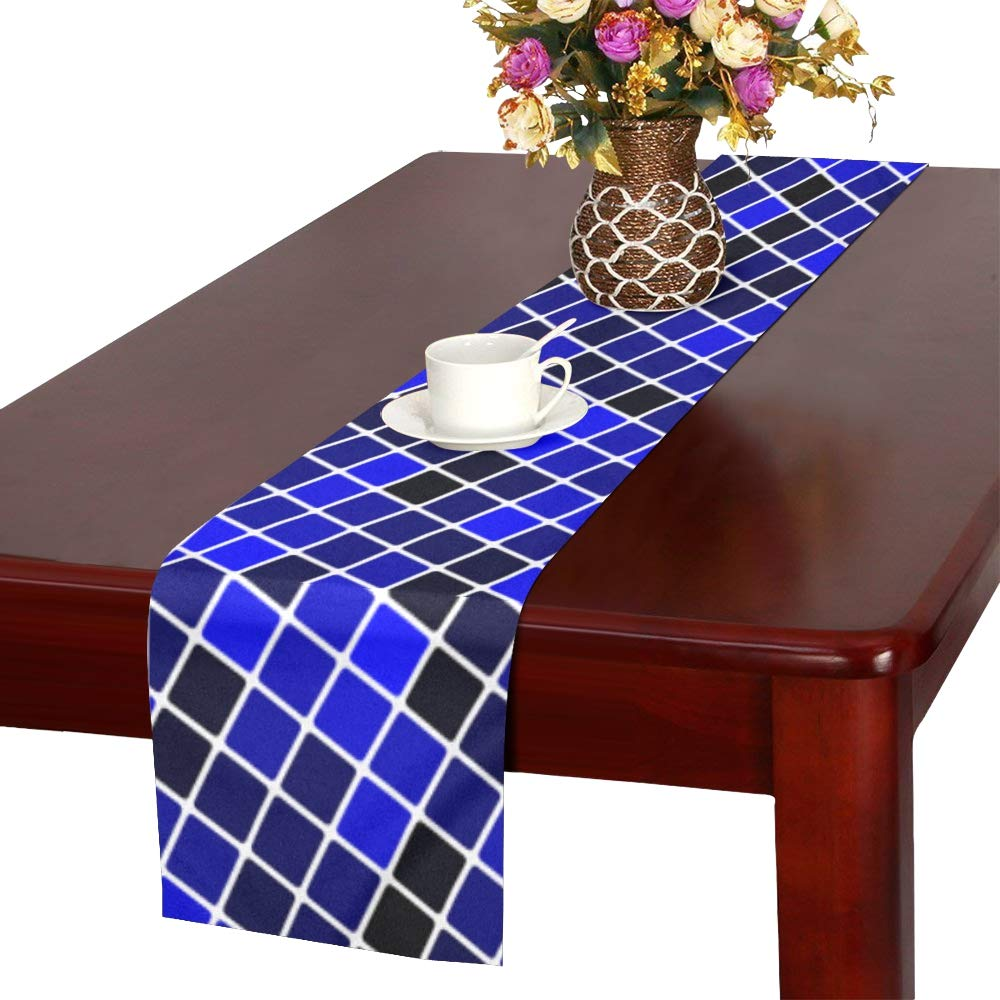 Blue Black Angular Square Modern Texture Table Runner, Kitchen Dining Table Runner 16 X 72 Inch For Dinner Parties, Events, Decor