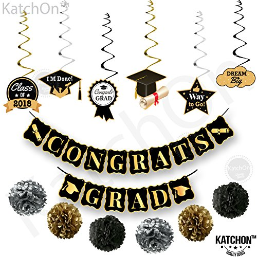 CONGRATS GRAD and Hanging Swirls Kit - Assembled, Graduation Party Supplies 2018 | Graduation Banner | Graduation Hanging Decorations for College Grad, High School Seniors Party Décor, Black and Gold