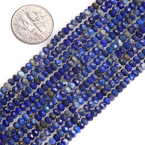 (Blue Lapis Lazuli Beads for Jewelry Making Natural Gemstone Semi Precious AAA Grade Rondelle Spacer Faceted 2x3mm 15