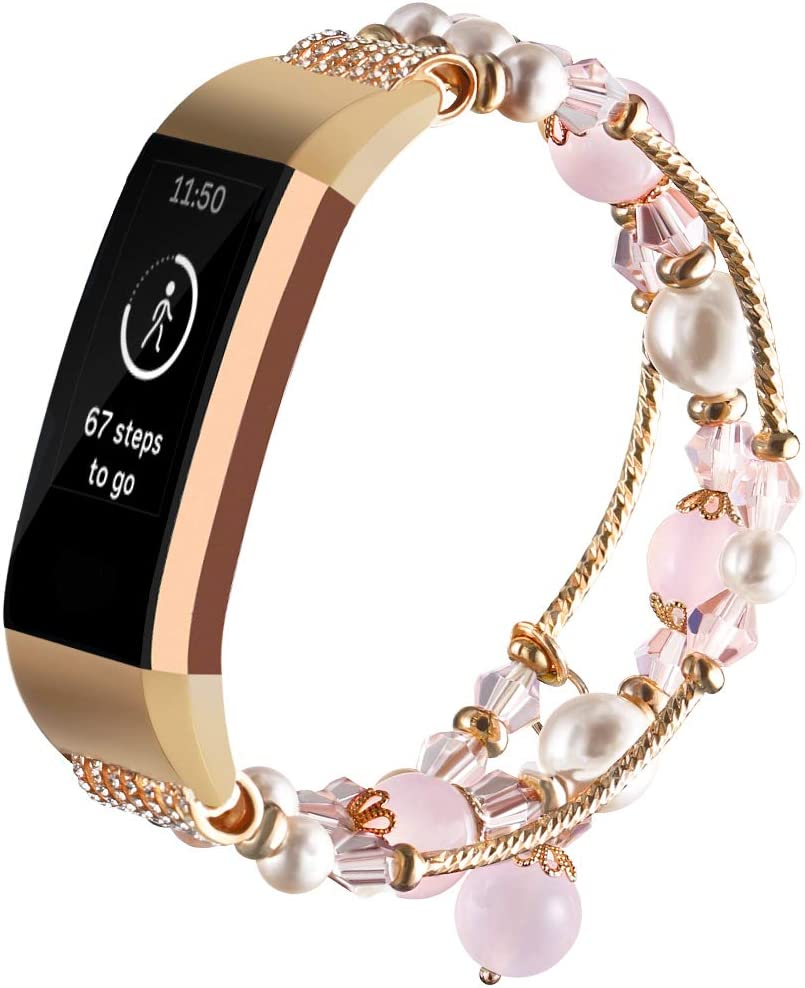 Black Gaishi Band Compatible with Fitbit Charge 3 Smartwatch Fitness Women Girls Fashion Elastic Stretch Handmade Beaded Pearl Bracelet with Metal Adaptor