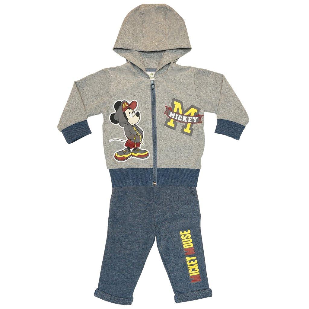 Jungen Mickey Mouse SPORT-ANZUG zweiteilig, Sweat-Jacke mit langer Hose, GRÖSSE 68, 74, 80, 86, 92, 98, 104, 110, Jogging-Anzug mit Hoodie / Kapuzen-Pulli, Freizeit-Anzug in grau GRÖSSE 68