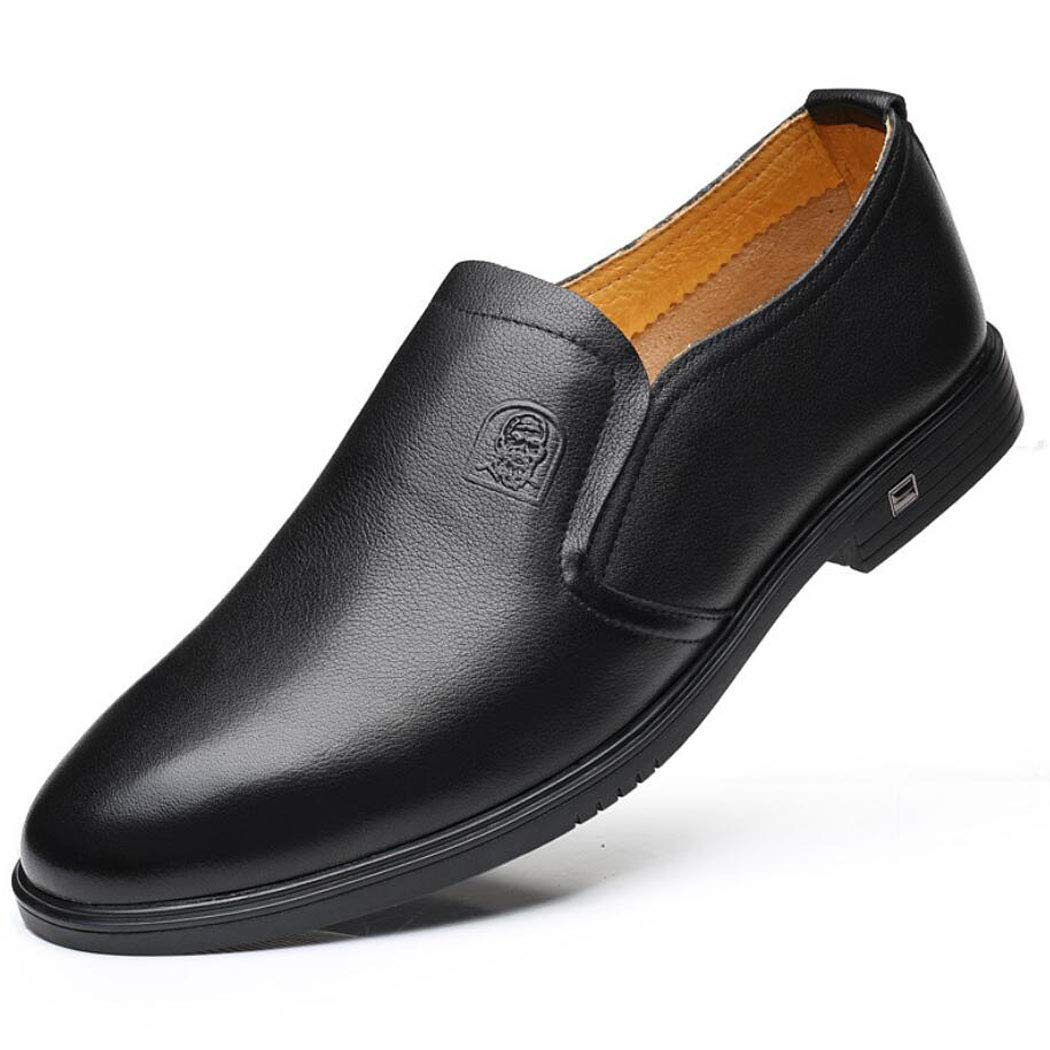 Black Casual Men's Leather shoes, Daily Driving, Comfortable Men's Single shoes, Breathable Low shoes