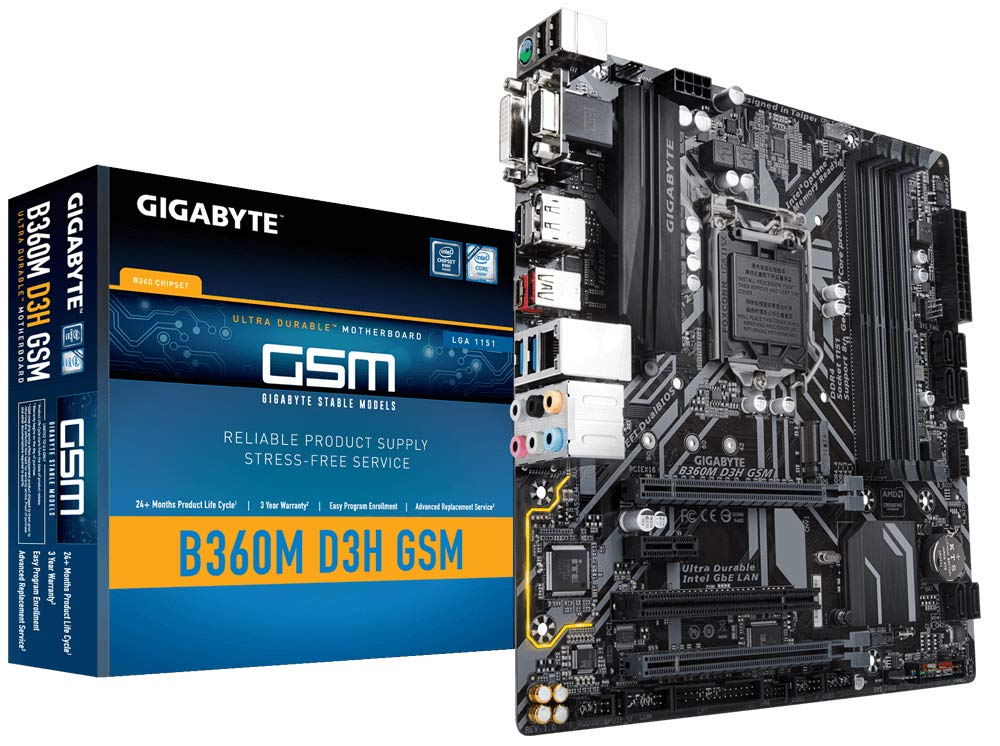GIGABYTE B360M D3H GSM LGA1151/Intel B360/DDR4/Quad Cross...