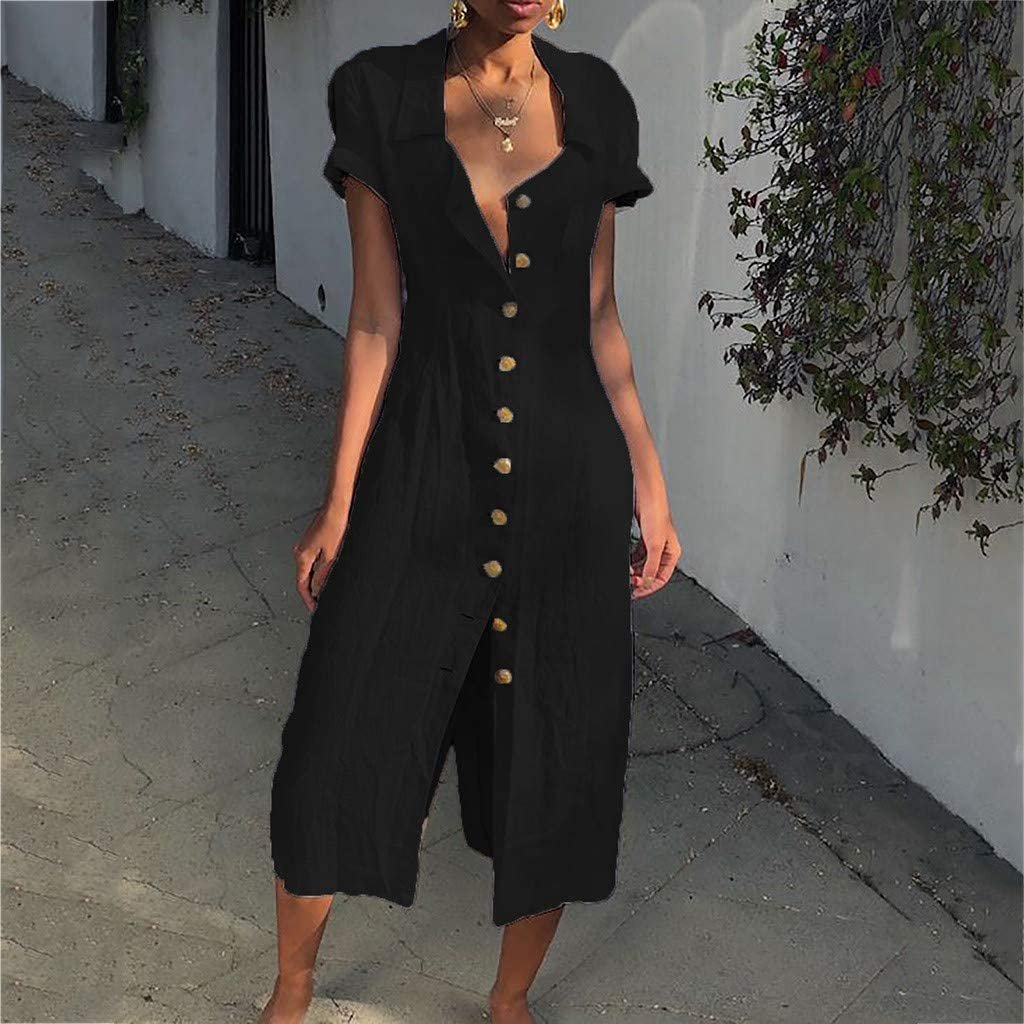 Opinionated Womens Bohemian Solid Color Casual Cotton Dress Lapel Button Casual Medium Long Dress
