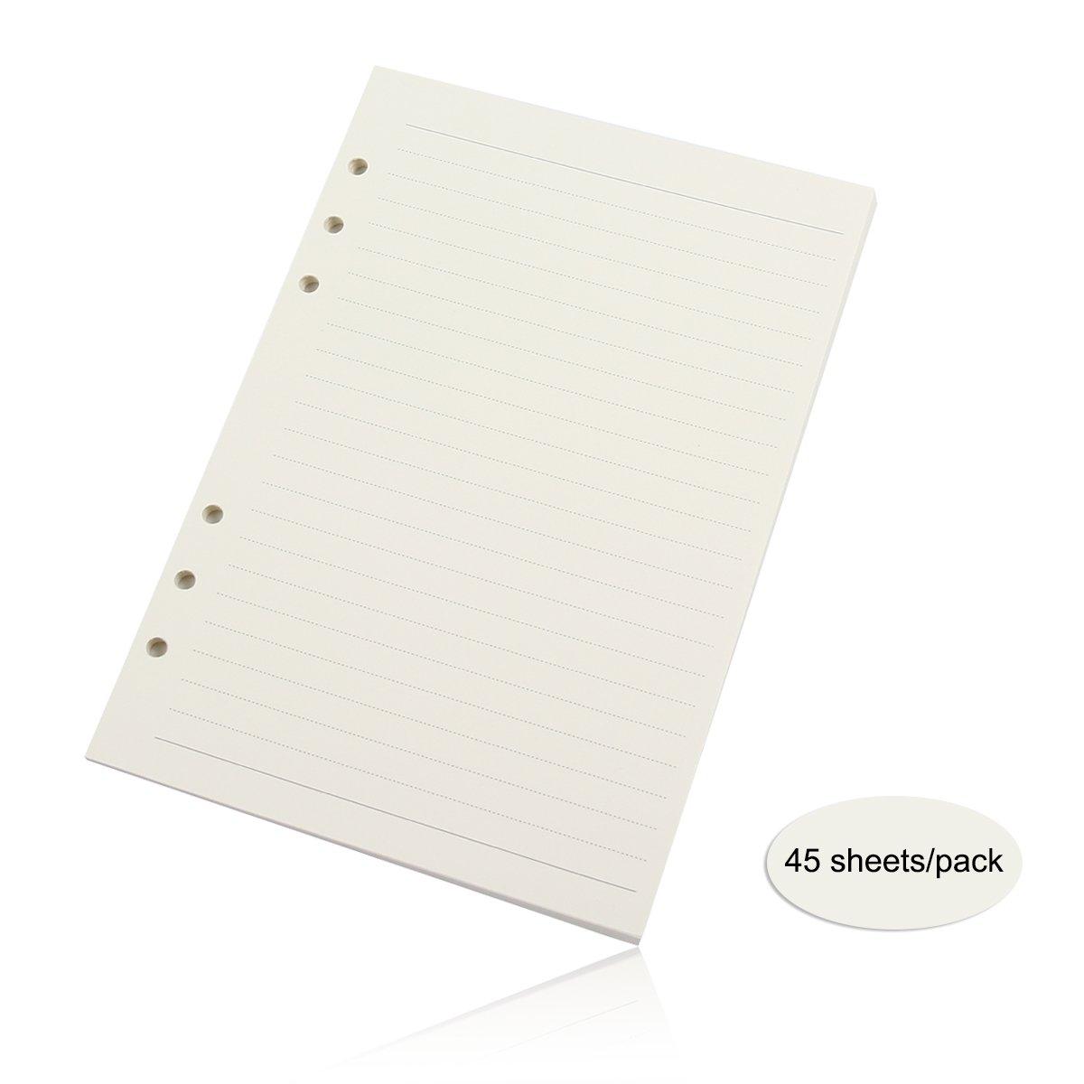 Evilandat 3 Packs of Refills Paper 6 Holes A6 17.2 x 9.5CM for Binder Loose Leaf Notebook Planner, 45 Sheets/ 90 Pages Per Pack, Blank White Paper