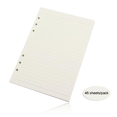 45 fogli A6 Lined Paper A6 foglie sfuse notebook ricariche