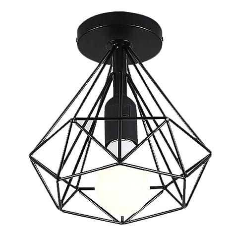 Lámpara de techo vintage Mesa de comedor negra Plafón Iluminación ...