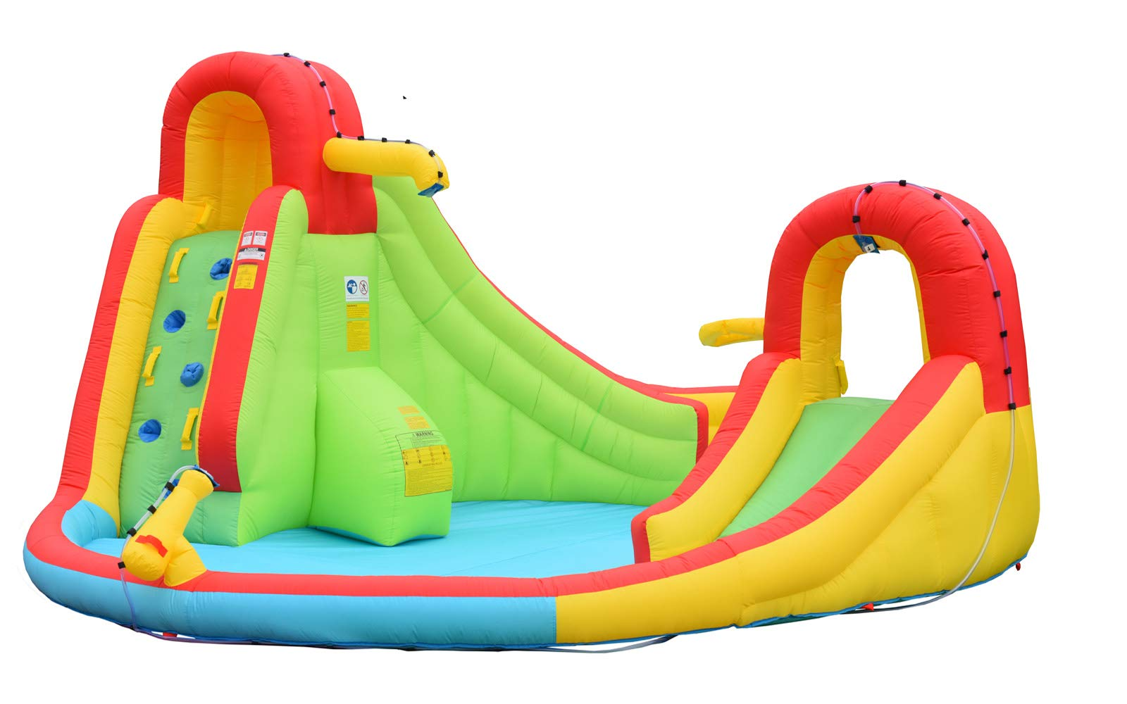 Inflatable Water Slide Well Fun Bounce House With Climbing Wall, Two Slides & Splash Pool Includes Blower Motor