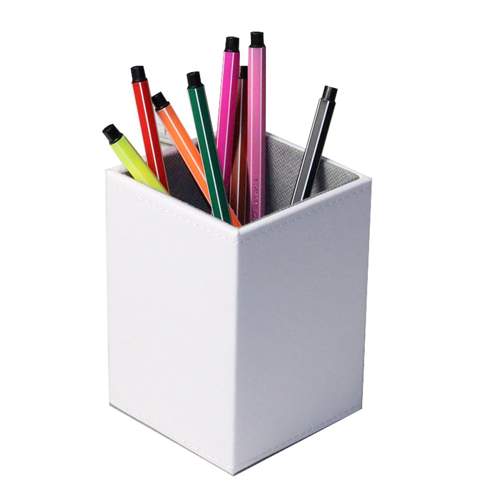 FBA/_SN00001-PE-SQ-WT Square White Iremico Colorful PU Leather Pencils Holder Stationery Organizer for Home Office