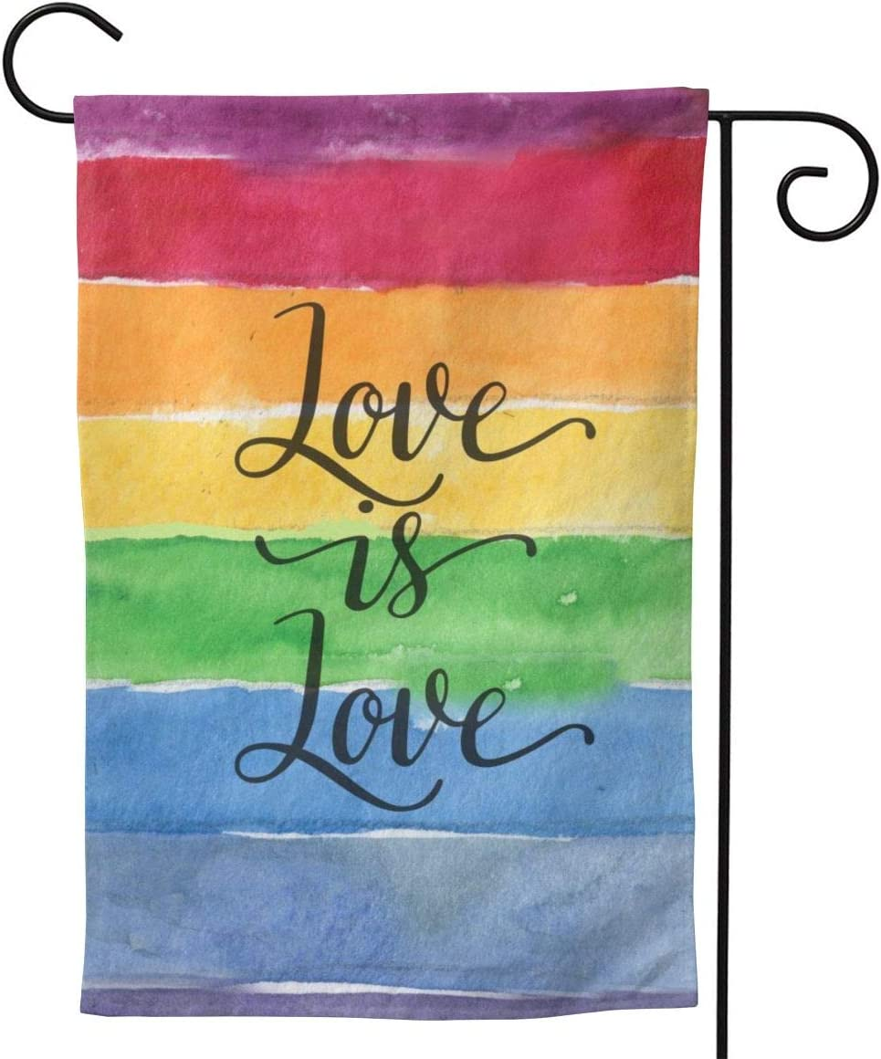 """YISHOW Love is Love Gay Pride Lesbian Rainbow Flag Garden Flag Double Sided Vertical American LGBTQ House Flags Yard Signs Outdoor Decor 12.5"""" X 18"""""""