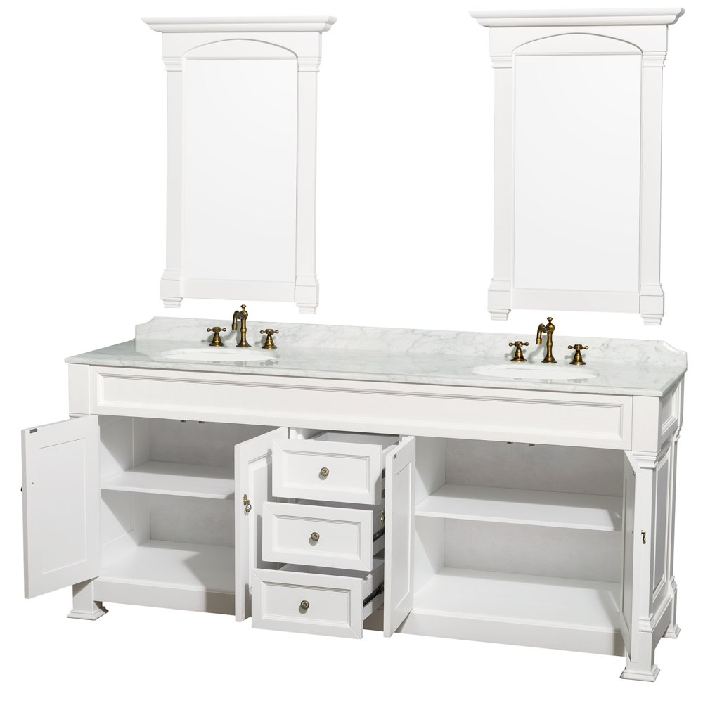 Wyndham Collection Andover 80 Inch Double Bathroom Vanity In White With  White Carrera Marble Top With White Undermount Round Sinks And 28 Inch  Mirrors ...