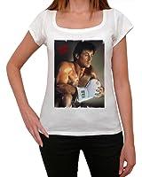 Sylvester Stallone 1, tee shirt femme, imprimé célébrité,Blanc, t shirt femme,cadeau