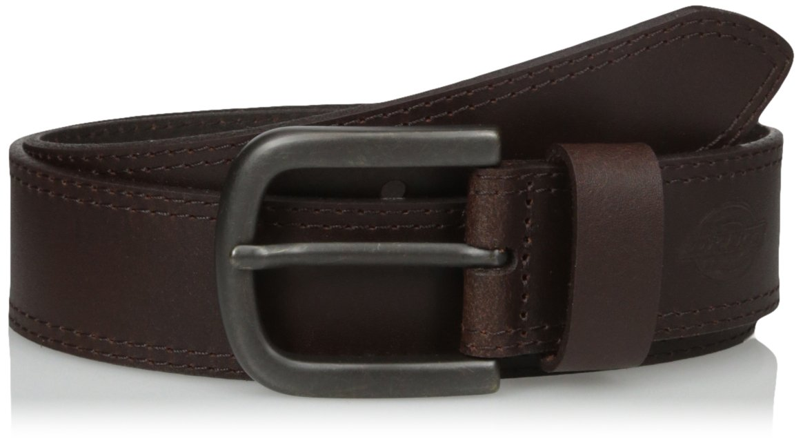 Dickies Men's 1 1/2 in. Leather Belt With Two Row Stitch,Brown,36