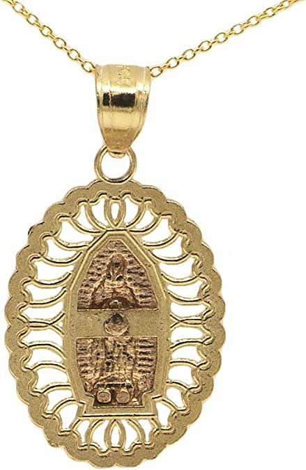 Ice on Fire Jewelry 14k Yellow Gold Guadalupe Pendant