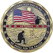 AtSKnSK US Military Challenge Coin Veteran Coin - Stand for The Flag, Kneel for The Fallen