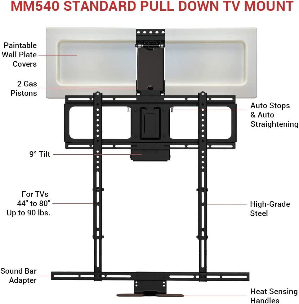 MantelMount MM540 - Above Fireplace Pull Down TV Mount