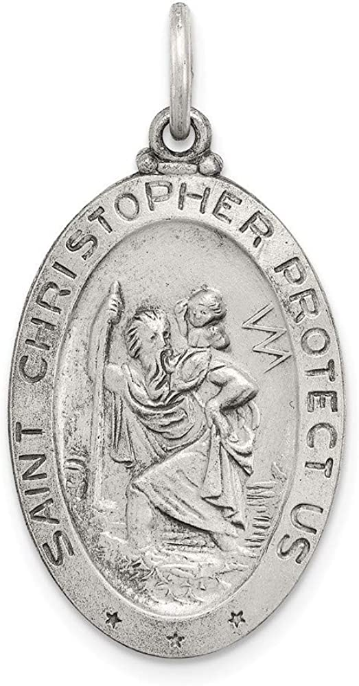 925 Sterling Silver Antiqued Satin St Christopher Medal