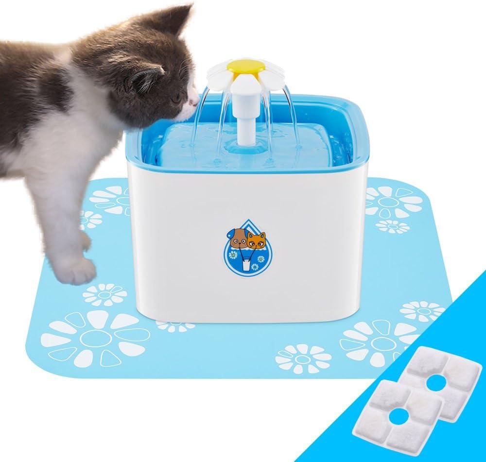 Dispensador de fuente de agua para mascotas, 3 modos de flujo de agua automático Silenciamiento de carbón activado con filtro de carbón
