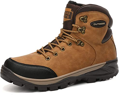 Men/'s Safety Ankle Boots Winter Fur Lined Work Outdoor Walking Hiking Snow Shoes