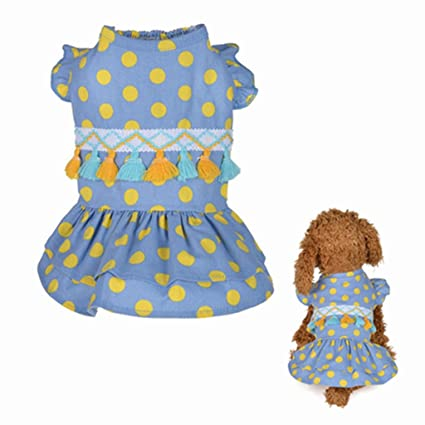 cd039c364 Amazon.com  Howstar Pet Dress Cute Dotted Tassel Skirt Dogs Dresses ...