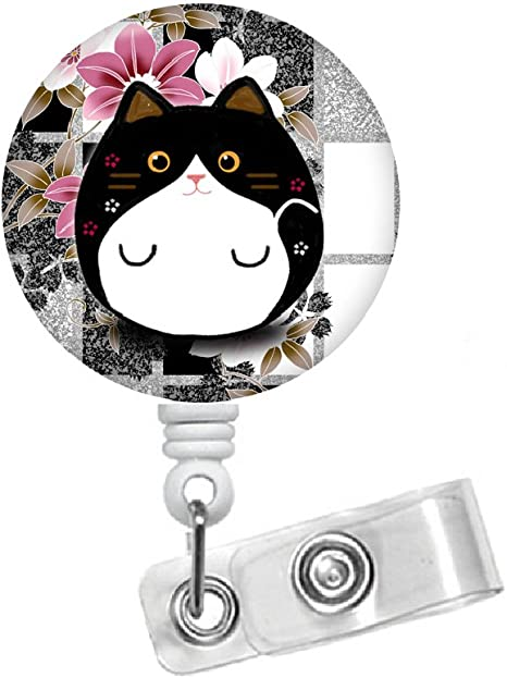 Black Cat 1.5 Id Badge Holder Fun Badge Reel Vet Badge Veterinarian Badge Nursing Badge Medical Badge Veterinarian Badge Teacher Badge Reel Id Badge Reel