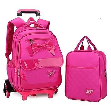 YiAmg Rueda Mochila Escolar Ruedas Niños Bolsa de Viaje Bolsa Mochila Niños Bolsas de Escuela Para Niñas Desmontable, rosa roja: Amazon.es: Equipaje