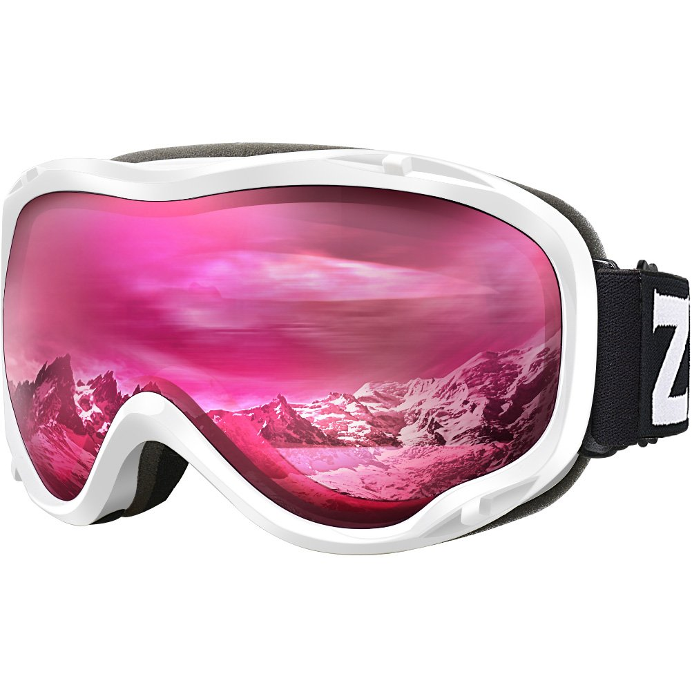 Zionor Lagopus Ski Snowboard Goggles UV Protection Anti Fog Snow Goggles for Men Women Youth VLT 46% White Frame Clear Rose Lens by Zionor
