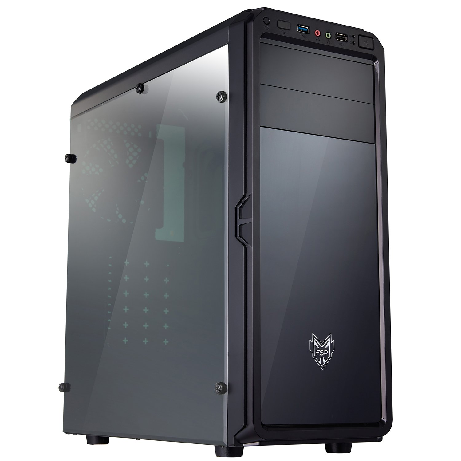 FSP ATX Mid Tower PC Computer Gaming Case Translucent Front & Side Window Panel (CMT120)