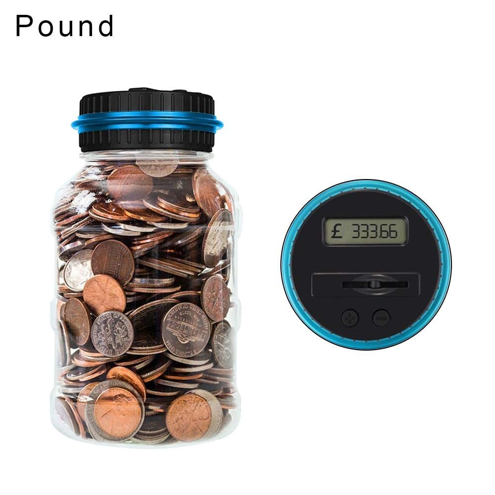 Wood.L Electronic Digital Coins Counter Automatic Counting Money Box Jar LCD Display Transparent Piggy Bank Large Capacity Gift for Kids and Adult