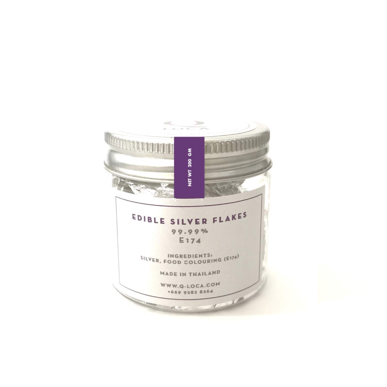 Q-loca EDIBLE Silver FLAKES (200 mg)