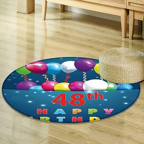 Round Area Rug Carpet 48th Birthday Decorations Greeting Happy Party Event Balloons Ribbon Joyful Illustration Multicolor