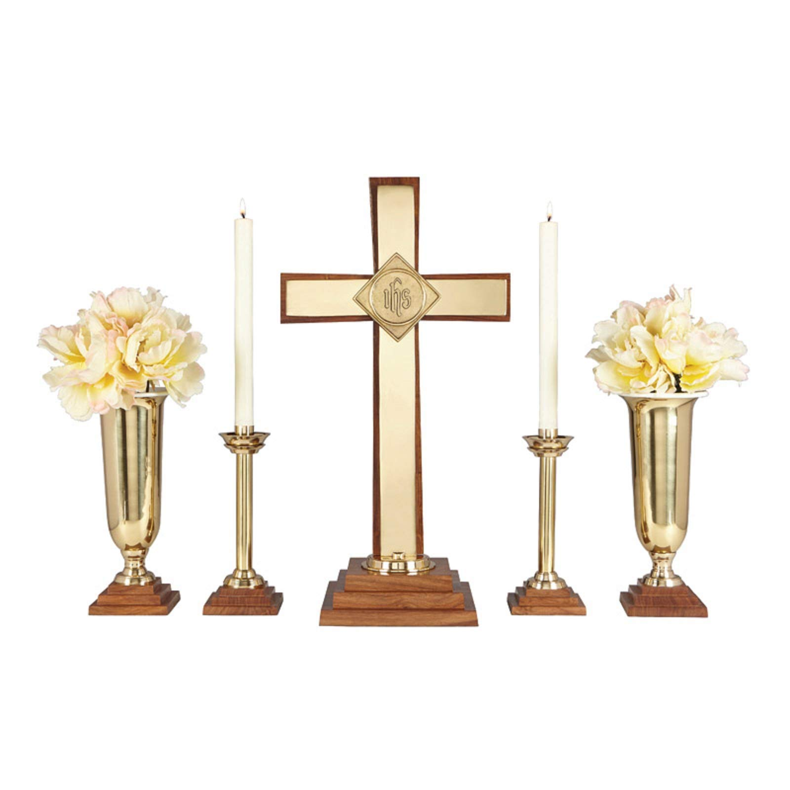 Wood/Brass 24'' Altar Set Includes YC505-24, YC506-10 and YC507-11