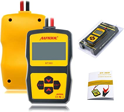 AUTOOL BT-360 Car Battery Tester, 12V Automative Battery Load Tester CCA 100-2400 Bad Cell Test for Regular Flooded,Auto Cranking and Charging System Diagnostic Analyzer for Vehicle/Boat/Motorcycle Click image to open expanded view AUTOOL BT-360 Car Battery Tester
